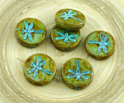 4pcs Picasso Green Olive Brown Travertine Turquoise Wash Rustic Dragonfly Flat Coin Round Czech Glass Beads 17mm