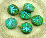 4pcs Picasso Green Brown Spotted Travertine Turquoise Wash Rustic Dragonfly Flat Coin Round Czech Glass Beads 17mm