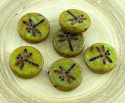 4pcs Picasso Green Olive Brown Striped Travertine Rustic Dragonfly Flat Coin Round Czech Glass Beads 17mm