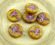 4pcs Picasso Yellow Light Brown Travertine Metallic Pink Wash Rustic Dragonfly Flat Coin Round Czech Glass Beads 17mm