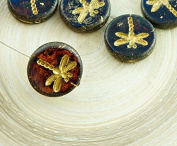 4pcs Picasso Crystal Dark Yellow Travertine Matte Gold Wash Rustic Dragonfly Flat Coin Round Czech Glass Beads 17mm