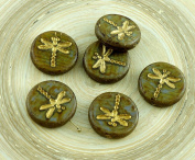 4pcs Picasso Opaque Brown Striped Travertine Matte Gold Wash Rustic Dragonfly Flat Coin Round Czech Glass Beads 17mm