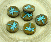 4pcs Picasso Opaque Brown Striped Travertine Turquoise Wash Rustic Dragonfly Flat Coin Round Czech Glass Beads 17mm