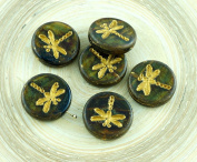 4pcs Picasso Opal Dark Green Brown Striped Travertine Matte Gold Wash Rustic Dragonfly Flat Coin Round Czech Glass Beads 17mm