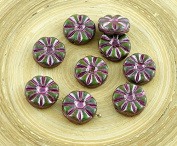 8pcs Picasso Turquoise Green Brown Metallic Pink Wash Flower Flat Coin Czech Glass Beads 12mm