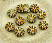 8pcs Picasso Coral Red Brown Bronze Gold Wash Flower Flat Coin Czech Glass Beads 12mm