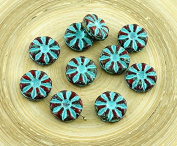 8pcs Picasso Coral Red Brown Turquoise Wash Flower Flat Coin Czech Glass Beads 12mm