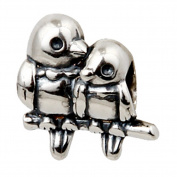 A Pair of Love Birds Charm Original 100% Authentic 925 Sterling Silver Love Beads Charm fit for Pandora Charms Bracelets