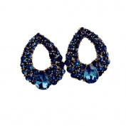 Hunputa Elegant Women Vintage Style Fashion Rhinestone Crystal Stud Earrings