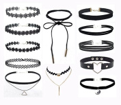 HQDmall 12 Pieces Black Velvet Chokers , Lace Necklaces for Women and Girls, Classic Stretch Gothic Tattoo Lace Choker necklace