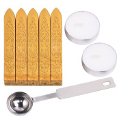 Outus Manuscript Sealing Wax Sticks without Wicks with Spoon and Candles for Envelops Postage Letter, 8 Pieces