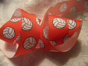 Grosgrain Ribbon Orange Volleyball Print - 2.2cm W - 5 Yards