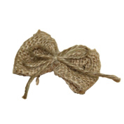 5 Piece Pre-Made Natural Burlap Hessian Ribbon Bowknot Bow for Craft