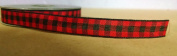 Red/Black Woodland Plaid/Cheque Ribbon - 5yds - 3/8