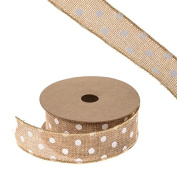 FloristryWarehouse Hessian Ribbon Natural with Polka Dot Pattern 4.4cm x 10yd Roll