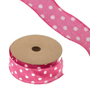 FloristryWarehouse Hessian Ribbon Cerise with Polka Dot Pattern 4.4cm x 10yd Roll