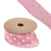 FloristryWarehouse Hessian Ribbon Pink with Polka Dot Pattern 4.4cm x 10yd Roll
