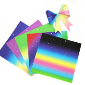 48PCS 6 Colours Multipurpose 17CM Rainbow Gradient Handmade Folding Paper Easy Square Folding Origami Materials for DIY and Children Creativity