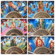 Set of 12 Religious Summer Black Hand Fan with Gift Bag /Folding Fan with Gift Bag for Church Gift/ Baptism Favour/