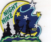 """NIGHT HIKE"" - SPORTS - HIKING - OUTDOORS -IRON ON EMBROIDERED APPLIQUE PATCH"