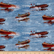 Classic Boats Allover Blue Fabric By The Yard