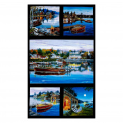 Classic Boats 60cm Panel Black Fabric By The Yard