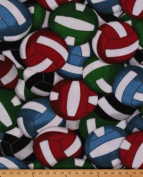 Multi Coloured Volleyballs Sports Fleece Fabric Print by the Yard