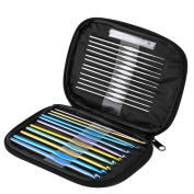 Blulu 23 Pieces Handle Aluminium Crochet Hooks Set with Scales and 6 Pieces Large-eye Blunt Needles with Storage Bag