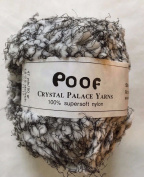 Crystal Palace Poof 204 - White, Black, Black Puff Eyelash Yarn 50 Gramme
