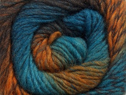 (1) 100 gramme Magic Wool Deluxe Self-Patterning Worsted Weight Yarn - Teal-Blue, Brown, Ocher