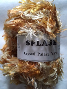 "Crystal Palace Splash #7183 ""Lioness"" Cream, Gold, Ocher Feather Boa Eyelash Yarn 100 gramme 85 Yards"