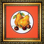 Embroidery Counted cross stitch kit Charivna mit #452 Pears and cherries Fruits 15x15 cm / 5.91x5.91 in