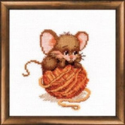 Embroidery Counted cross stitch kit Charivna mit #446 Let's play Mouse Smile 15x15 cm / 5.91x5.91 in