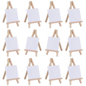 eBoot 7.6cm by 7.6cm Mini Canvas and 7.6cm by 13cm Mini Wood Easel Set for Painting Drawing Craft, 12 Pack