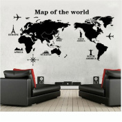 HN DIY World Map Removable Vinyl Quote Art Wall Sticker Decal Mural Decor