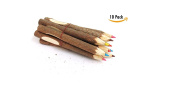 Twigs And Branches Fun Pencils- 10 Wooden Log Pencils In Assorted Bright And Vibrant Colours - Amazing Kids Students Gift Party Favour, Great Fun To Write With! By Mega Stationers