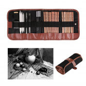 Sketch & Drawing Pencils Set, Powstro 18 Pieces Pen Charcoal Sketch Set Pencils Eraser Craft Knife Pencil Extender with Roll up Canvas Carry Pouch for Beginners Artist