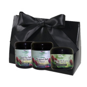 Simply Radiant Beauty Organic Skin Care Bath & Body Valentines Gift Set- includes 60ml Dead Sea Salt Scrub, Body Butter, & Rose & Hibiscus Clay Face Mask