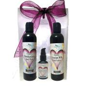 Simply Radiant Beauty Organic Skin Care Bath & Body Valentines Gift Set- Black Cherry Vanilla 240ml Body Wash, Lotion + 60ml Hand Sanitizer