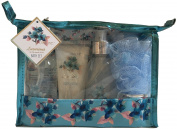 Luxurious Aqua Bath Spa Gift Set - Shower Gel, Body Lotion, Bubble Bath, Bath Salt, Puff in a Zippered PVC Bag