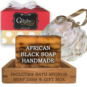 African Black Soap - Luxury Handmade Soap Bath Gift Set - Includes Loofah & Bamboo Soap Dish