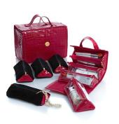 Joy Big Better Beauty Case Deluxe Set with 4 Velvet Pouches ~ Fuchsia Croco