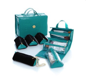 Joy Big Better Beauty Case Deluxe Set with 4 Velvet Pouches ~ Teal Croco