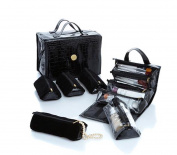 Joy Big Better Beauty Case Deluxe Set with 4 Velvet Pouches ~ Black Croco