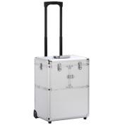 go2buy 48cm Makeup Rolling Artist Cosmetic Train Case Aluminium Beauty Lock Box, Silver