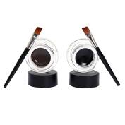 Toraway 2Pcs Waterproof Eye Liner Eyeliner Shadow Gel Makeup Cosmetic Brush Brown Black