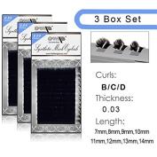 3 BOX SET /Semi Permanent Individual Eyelash Extension Mink Silk 3D 6D 9D Volume B/C/D Curl .03 thickness ( 8mm-14mm) /12 Rows/tray