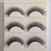 CupidLoveHair Soft 3 Pairs Long Makeup Cross Thick Individual False Eyelashes Natural Handmade 3D Valume Lashes