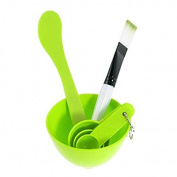 Top McKinley 4 In 1 Facial Skin Care Mask Mixing Bowl Stick Brush Gauge Spoon Set - Green