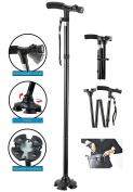 Folding Cane, BeGrit Dependable Ajustable Height Lightweight Folding Walking Stick Cane with Built-in LED Lights Non Slip Unisex